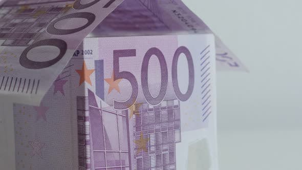 Thumbnail for Improvised  real estate with 500 Euro denominations 4K 21650p 30fps UltraHD tilting footage - House