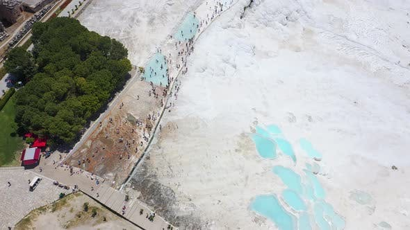 Thumbnail for Birds Eye View of Thermal Springs Located on White Limestone Terraces