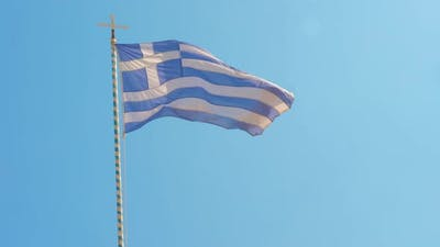 Greece Flag and Clear Blue Sky Among the Aegean Sea, Greek Islands, Greece, Sign of Greece