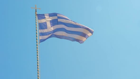 Thumbnail for Greece Flag and Clear Blue Sky Among the Aegean Sea, Greek Islands, Greece, Sign of Greece