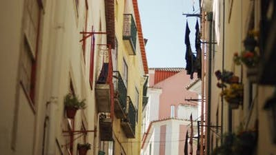 Scenic view of a narrow street in Lisbon