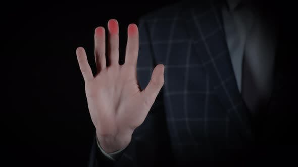 Businessman in Suit Scan Handprint Identity