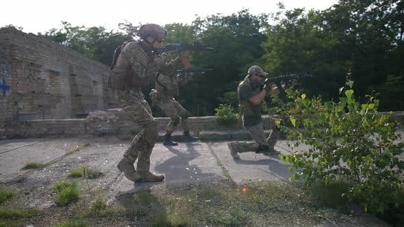 Thumbnail for Army Combat Soldiers Aiming Weapons on Enemy Target
