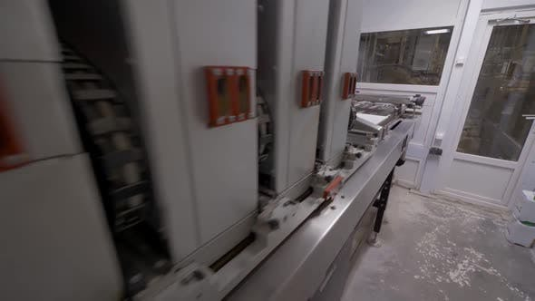 Painting Process of Ceramic Tile in Industrial Factory, Automated Equipment