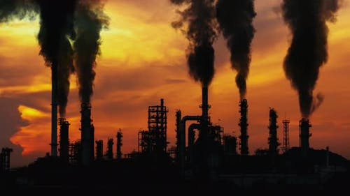 Smoking Factory Chimneys. Environmental Problem of Pollution of Environment and Air in Large Cities