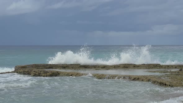 Waves battering a reef