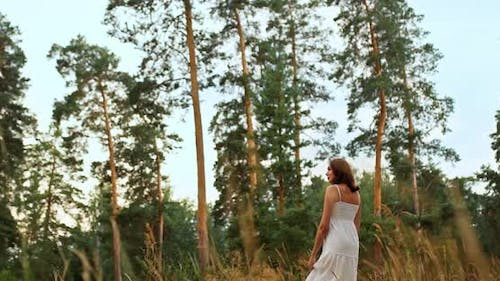 Beautiful Romantic Girl Walks on the Grass, a Clearing Near a Pine Forest, Travel. Walk in a Pine
