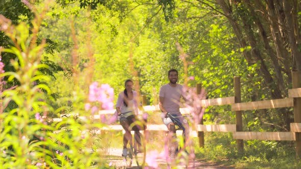 Thumbnail for Happy Couple Riding Bicycles at Summer Park