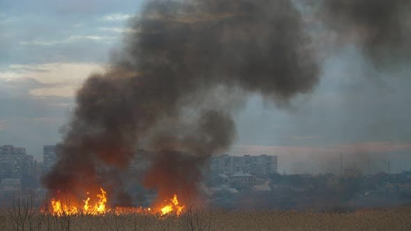 Thumbnail for Dense Clouds of Smoke From Forks of a Blaze on the Dnipro Bank in the Evening