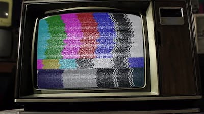 Vintage Television with Green Screen. 4K.