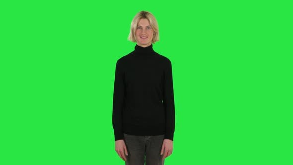 Cover Image for Blonde Guy Smiling While Looking at Camera. Green Screen