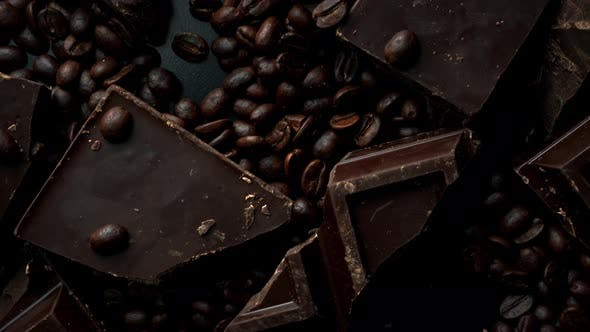 Thumbnail for Dark Organic Chocolate and Coffee Beans on Concrete Background