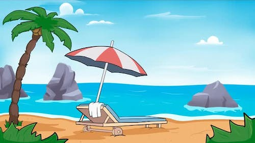 Animation of beach with sun bed lounger and umbrella.