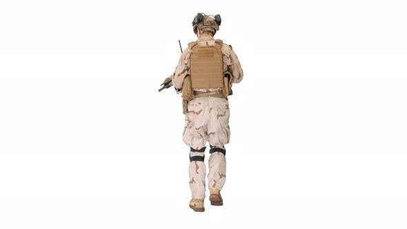 Thumbnail for US Army Ranger in Combat Uniform Walking on White Background.