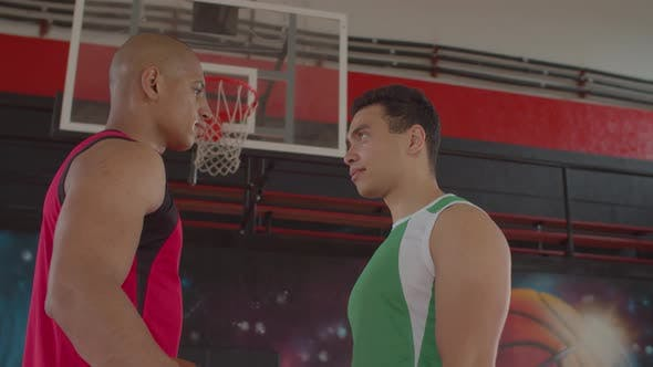 Rival Basketball Players Making Duel By Look