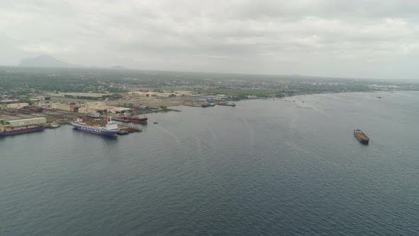 Cover Image for Cargo Ships in the Harbor. Batangas, Philippines
