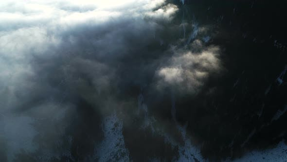 Thumbnail for Flying Above Mystic Mountain Valley Covered With Clouds
