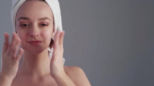 Facelift Massage Woman Touching Flawless Face Skin