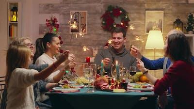 Big Happy Family at Christmas Reunion