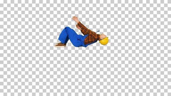 Thumbnail for Construction worker making a flip and folds hands looking to