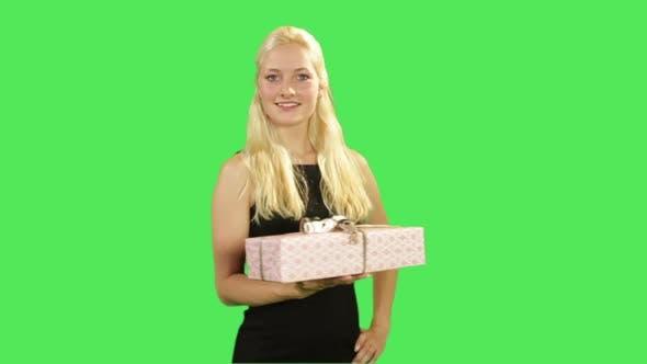 Female giving present