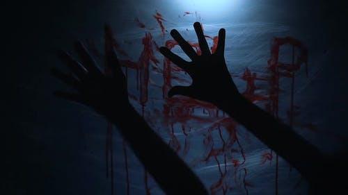 Bloody Fingerprints of Dying Victim on Plastic, Cruel Psycho Killing Person
