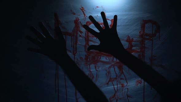 Thumbnail for Bloody Fingerprints of Dying Victim on Plastic, Cruel Psycho Killing Person