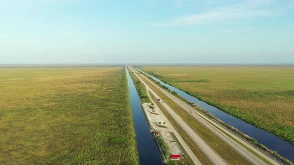 Thumbnail for Aerial Video Alligator Alley Florida Everglades