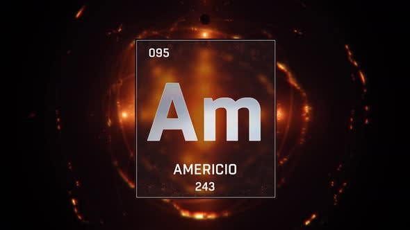 Thumbnail for Americium as Element 95 of the Periodic Table on Orange Background in Spanish Language