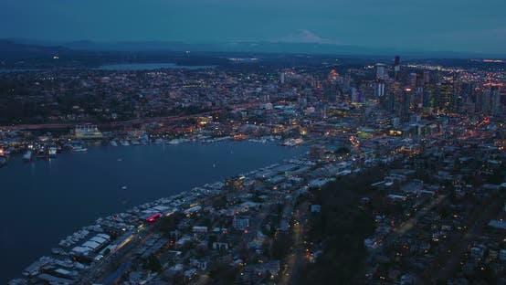 Seattle Aerial West Lake Union Queen Anne Hill City Skyline Mount Rainer Dusk Evening Building