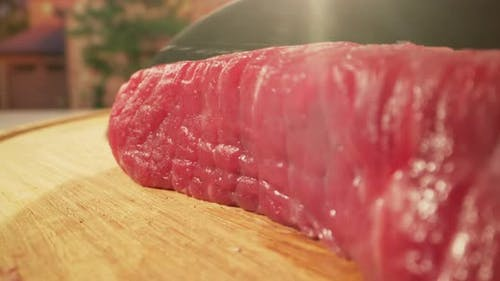 Meat Sliced By Knife