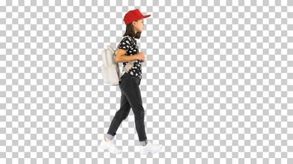 Asian schoolgirl with backpack walking, Alpha Channel