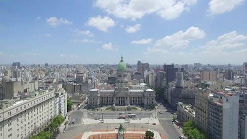 Vue aérienne du Congrès de la Nation argentine.