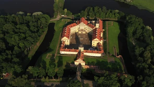 Top View of the Nesvizh Castle Before Sunset