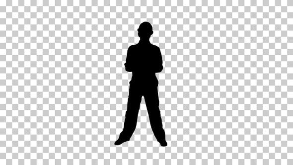 Thumbnail for Silhouette workman dancing, Alpha Channel