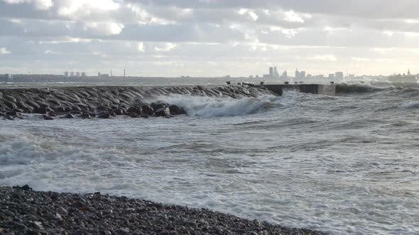 Thumbnail for Stormy Sea and Waves Crashing to the Pier