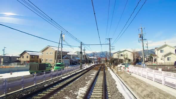 Thumbnail for View To Suburb From Train or Railway in Japan