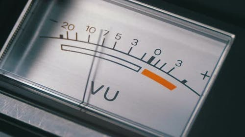 Analog Signal Indicator with Arrow. Meter of the Audio Signal in Decibels