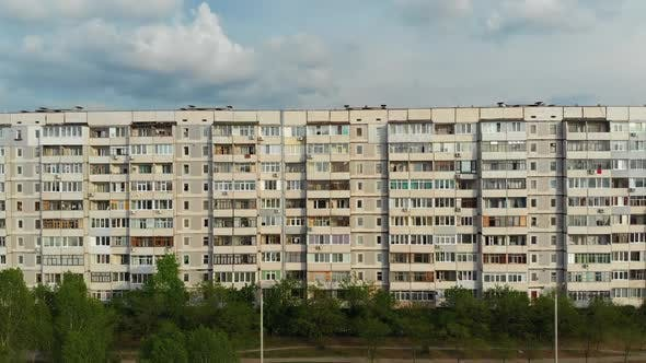 Thumbnail for Residential USSR Multistory Building at a Sleeping Area of City, Aerial View