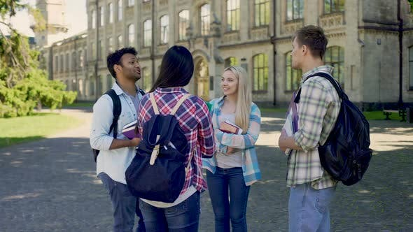 Thumbnail for Group of Cheerful Students Actively Communicating Standing in University Yard