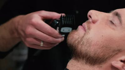 Barber Shaves the Client's Beard on a Chair. Beard Haircut. Barber To Shave a Beard with an Electric