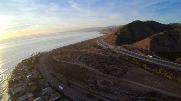 Thumbnail for Faria Beach Park Pitas Point And Padre Juan Canyon Aerial View Flying Above Pacific Coast Highway