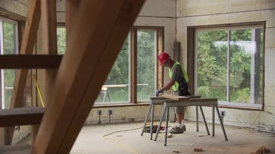 Construction worker working on remodel