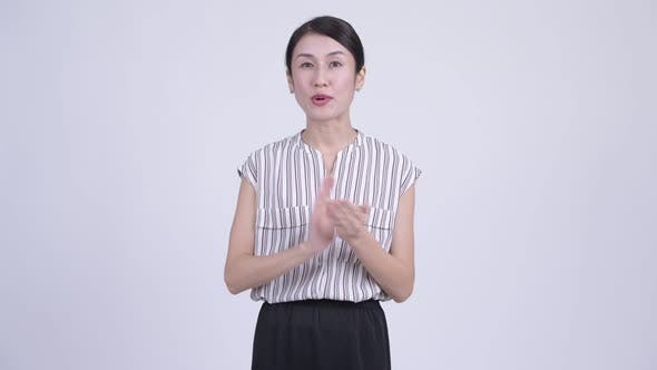 Thumbnail for Happy Beautiful Asian Businesswoman Clapping Hands