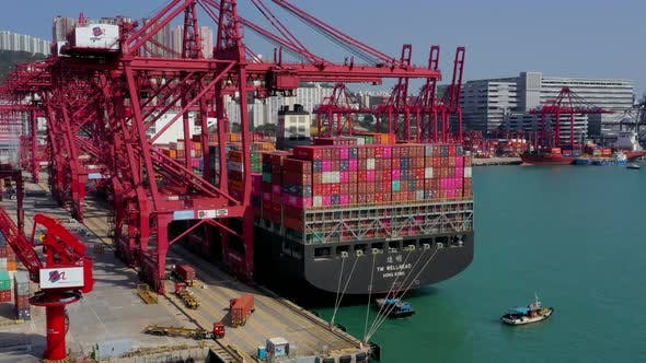 Drone fly over Hong Kong container terminal