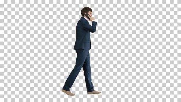Thumbnail for Young businessman talking on the phone while walking, Alpha Channel