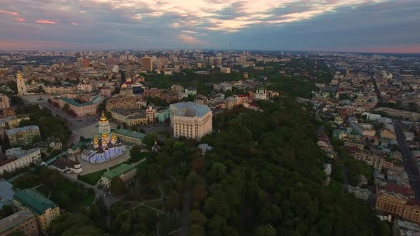 Thumbnail for Aerial View Modern City Architecture on Evening Sunset Landscape
