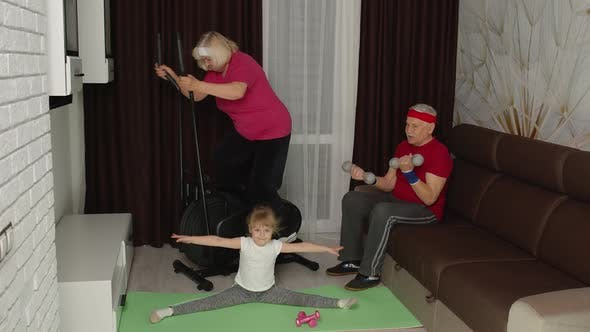 Senior Couple with Granddaughter Using Orbitrek Doing Weight Lifting Dumbbells Exercises at Home