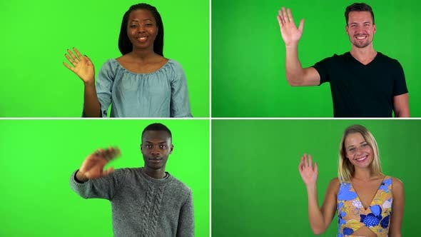 Thumbnail for Compilation (Montage) - Four People Wave and Smile at the Camera - Green Screen