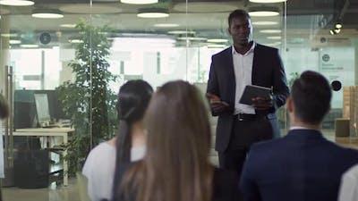 African Businessman Delivering Speech